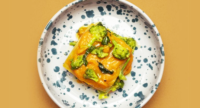 Lasagne di lenticchie gialle con zucca e cime di rapa